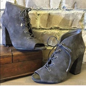 Distressed Charcoal Lace Up Corset Peep Toe Bootie